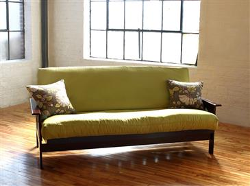White Lotus Home Green Cotton Boulder Futon without Fire Retardant