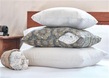 White Lotus Home Green Cotton Decorative Pillow Inserts